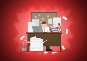 Stressful businessman in office with too many stack of paper and folder on his desk. Vector illustration. Elements are layered separately in vector file. Easy editable.